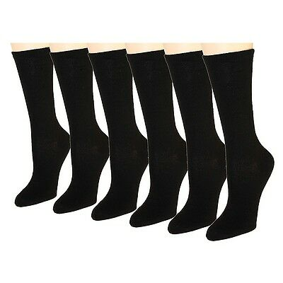 New Lot 6-12 Pairs Womens Solid Crew Socks Size 9-11 Cotton Stretch Black Casual