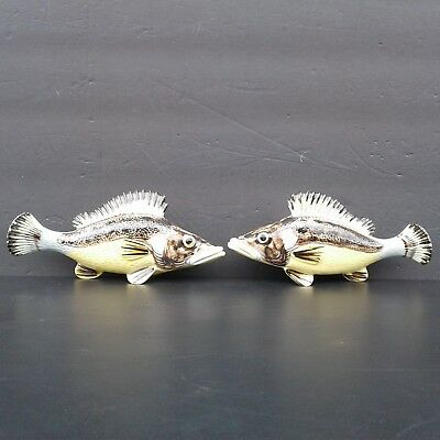 2 Rare Pair of Antique Vintage French Majolica Fish Wall Pocket Vase