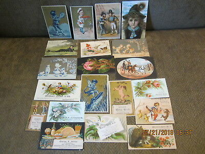 L2 20pc lot VICTORIAN TRADE CARDS flower GROCERIES garden seed ADVERTISING CARDS