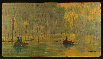 Vintage Impressionist Old Southern Oil Painting Row Boats Trees Signed Middleton