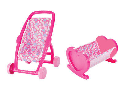 Pink Stroller & Dolls Bed Twin Pack