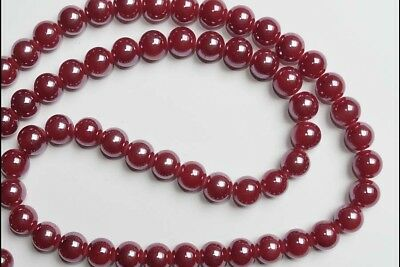 LOT DE 15 PERLES RONDES 10mm EN VERRE ROUGE ROSE BRILLANT