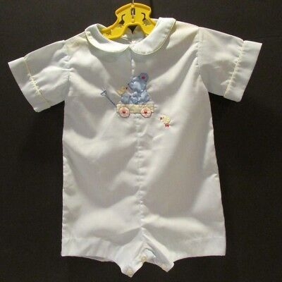 Vintage Baby Boy Romper by Imperial Portugal 18-24 Mos Blue with Teddy Applique