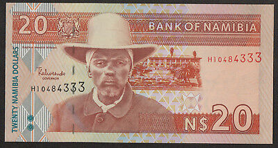 NAMIBIA (P06) 20 Dollars ND(2002) UNC Sign.3 8-digit serial # Serial # prefix H