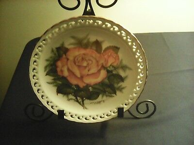 """1988 The American Rose Garden Plate Collection """"PEACE ROSE' no.1406b"""