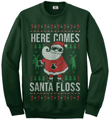 Here Comes Santa Floss Ugly Christmas Sweater Youth Sweatshirt