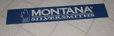 """Rare Vintage Montana Silversmiths Advertising Galvanized Metal Cut out Sign 43"""""""