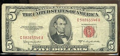 Beautiful 1953-C United States $5 Currency Note GA927
