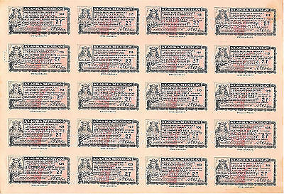Vintage Sheet of 20, 500 Share Certificates in the Alaska-Mexican Gold Mining Co