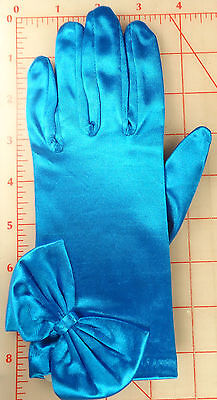 1 Pair Wedding Prom Stretch Satin Gloves Blue With Bow