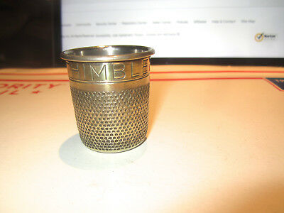 Antique Sewing Thimble Shaped 'just A Thimbleful' Novelty Shot Glass