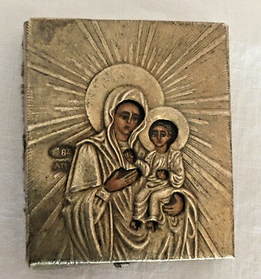 Antique Russian Hand Painted 84 Silver Madonna & Jesus Miniature Travel Ikon