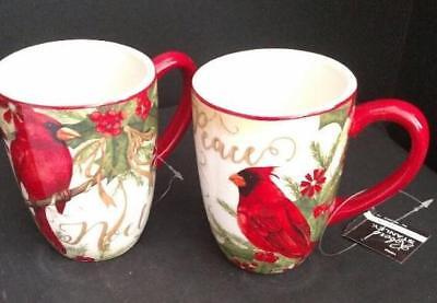 Red Cardinal Bird Holiday Festive Mug Pair 18 oz Ceramic Certified Intl NWT