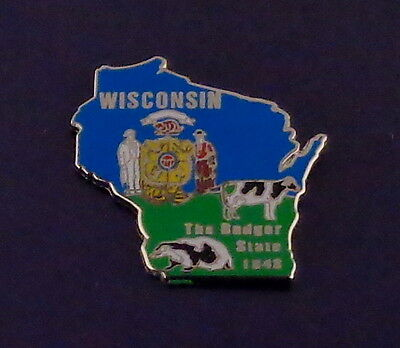 Wisconsin State Shaped Map Lapel Pin WI state flag THE BADGER STATE 1848