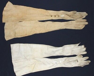 Antique Lot Of 2 Pair Of Ladies Victorian Era Kid Leather Opera / Ball Gloves