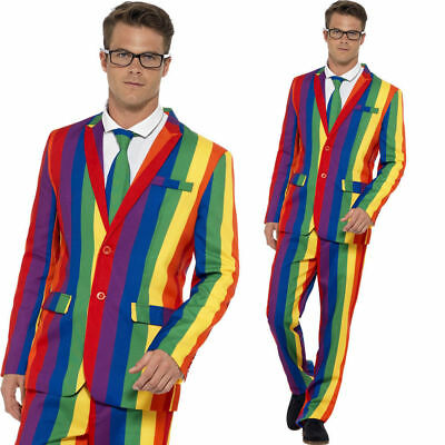 Smiffy's Stand Out Rainbow Suit Adult Mens Pride Fun Jacket Pants Tie MD-XL