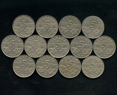 1922 - 1936 Canada 5 Cent Nickel Coins (George V) 13 Different Dates