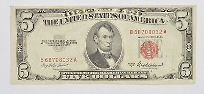 Crisp 1953-X Red Seal $5.00 United States Note - Better Grade *760