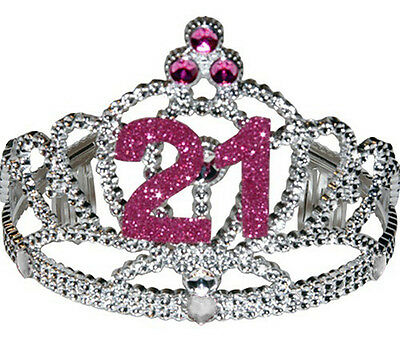 21st Birthday Plastic Tiara Silver & Pink Crown with Sparkling Jewels