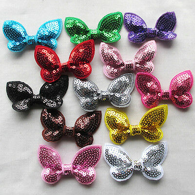 12PCS 60mm Sequins Bows Flowers Butterfly Appliques Sewing Wedding Decor