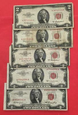 1953-1963 $2 RED US Deuces Set of 5 Legal Tenders X124 Rough! Old Currency
