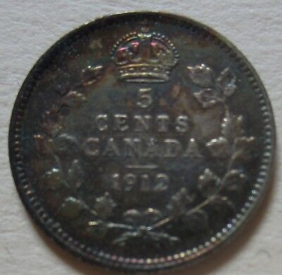1912 Canada Silver Five Cents Coin. NICE GRADE (F553)