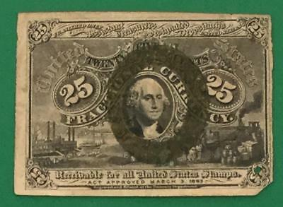 """1867 US Fractional Currency """"TWENTY FIVE CENTS"""" Rough! Hard to Find! Currency"""
