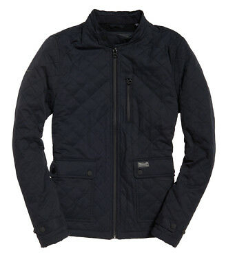 Superdry Men's Ink Blue Microfibre Quilted Zip Jacket