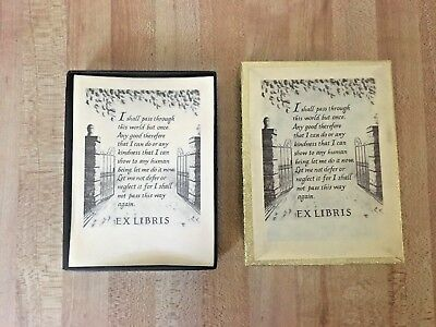 Antioch Bookplate Gummed Label Library Book Identification Gate Poem 34 pc. NEW