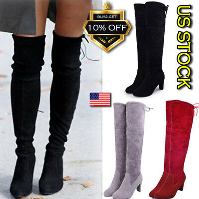 Women Ladies Thigh High Boots Over The Knee Party Stretch Block Mid Heel Size US