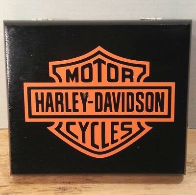 Harley Davidson - Wood Cigar Box - Storage - Black with Orange Logo - Toro 1990