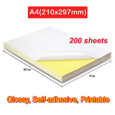 200 x A4 Paper Sticker Label Glossy White Self-Adhesive Printable 210mm x 297mm