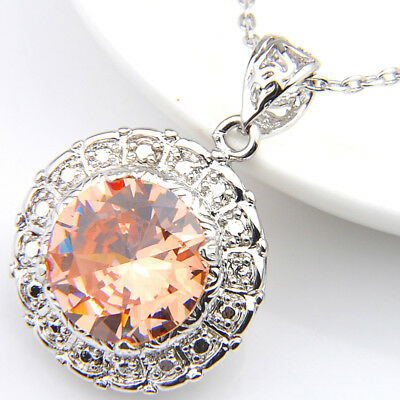 Round Honey Morganite Gemstone Antique Silver Necklace Pendants with Chain