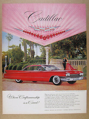 1960 Cadillac Coupe DeVille red car photo vintage print Ad