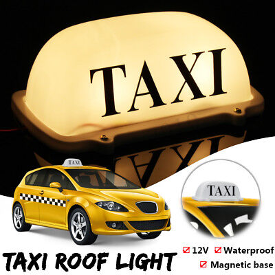 LED Yellow Taxi Car Cab Dome Roof Top Topper Sign Light Magnetic Waterproof