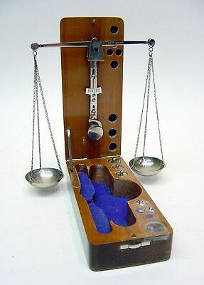 Vtg Portable Jewelry Balanced Scale Chrome Plated, Lacquer Wood Box Germany Made
