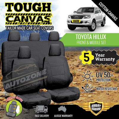Canvas Seat Covers for Toyota Hilux Dual Cab SR5 SR 2ROWs 04/2005 -06/2015 BLACK