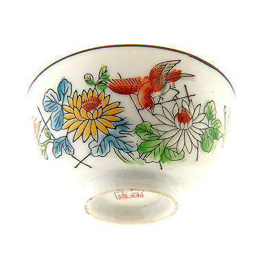 Vintage Chinese Hand Painted Porcelain Rice Bowl Bird and Flower