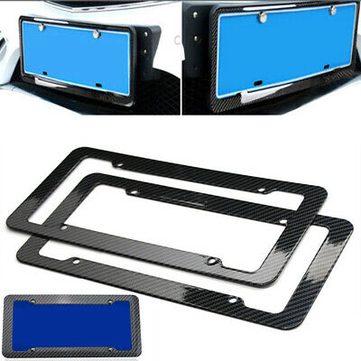 2x Universal Carbon Fiber Style Car License Number Plate Frame Cover Black