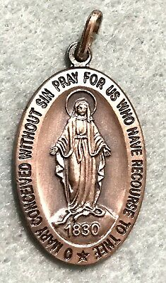 Vintage Sterling Silver Catholic Medal Pendant Necklace Virgin Mary STAMPED .925