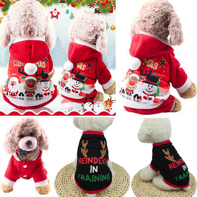 Pet Warm Dog Cat Jacket Coat Puppy Clothes Winter Sweater Christmas Apparel  A