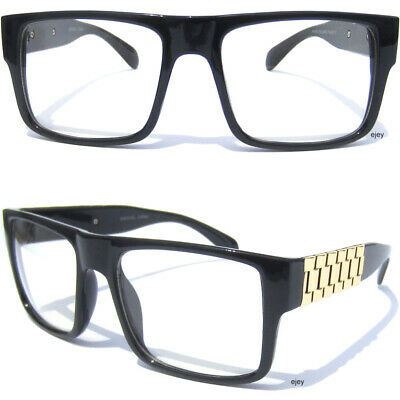 8d1f730c214 Bold Frame Clear Lens Eye Glasses Metal Link Side Chain Arm Square Aviator  Large