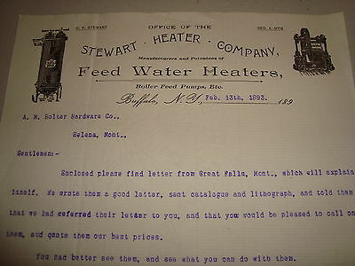 1893 Letter to A. M. Holter Hardware of Helena, Montana from Stewart Heater Co.