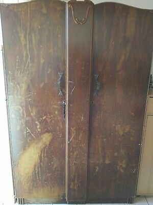 Original antique Art Dec Walnut Wardrobe