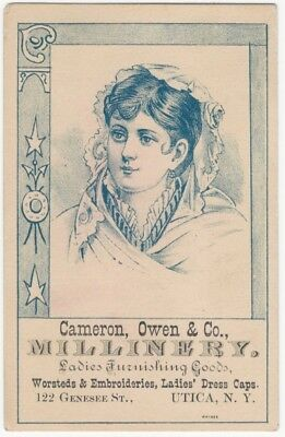 1880s Millinery & Ladies' Caps, Embroideries & Fashion Vintage Trade Card