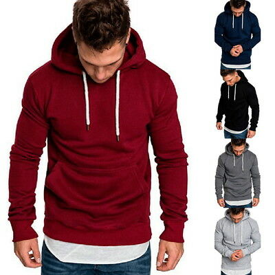 Fashion Mens Long-Sleeved Hooded Hoodies Casual Sweatshirt Fitness Pullover Tops