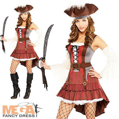 Pirate Captain Ladies Fancy Dress Caribbean Buccaneer Shipmate Womens Costume