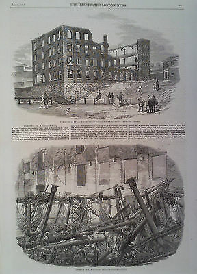 1860 Print The Ruins Of Swallow Street Factory,Blackburn Destroyed By Fire