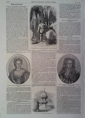 Print Portrait Of Queen Anne & George Of Denmark-Scarborough Drinking Fountain