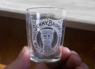 Sunny Brook Pure Food Whiskey Emb Inspector Pre Pro Etched Shot Glass 1908 Era